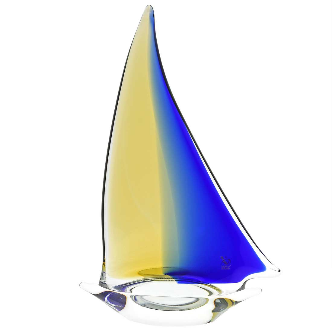 Murano Glass Large Sailboat - Amber Blue