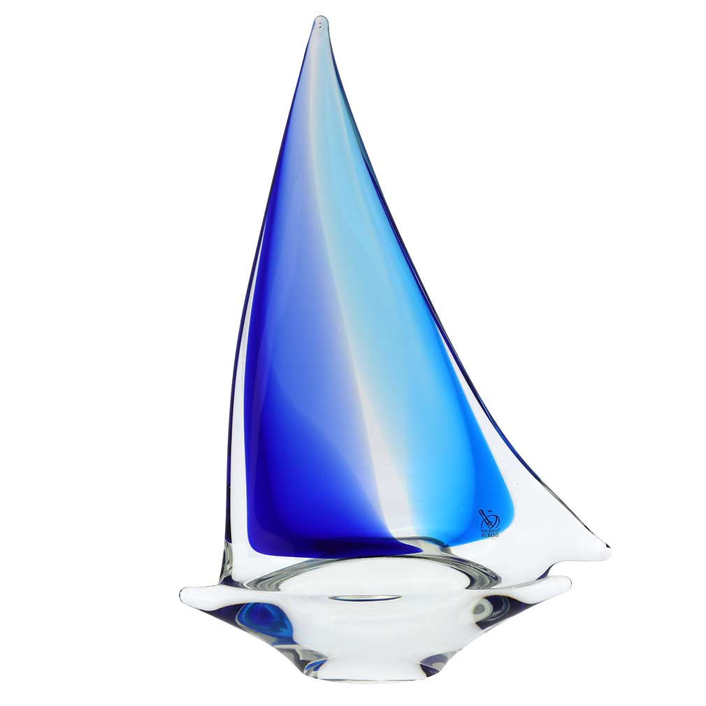 Murano Glass Large Sailboat - Aqua Blue