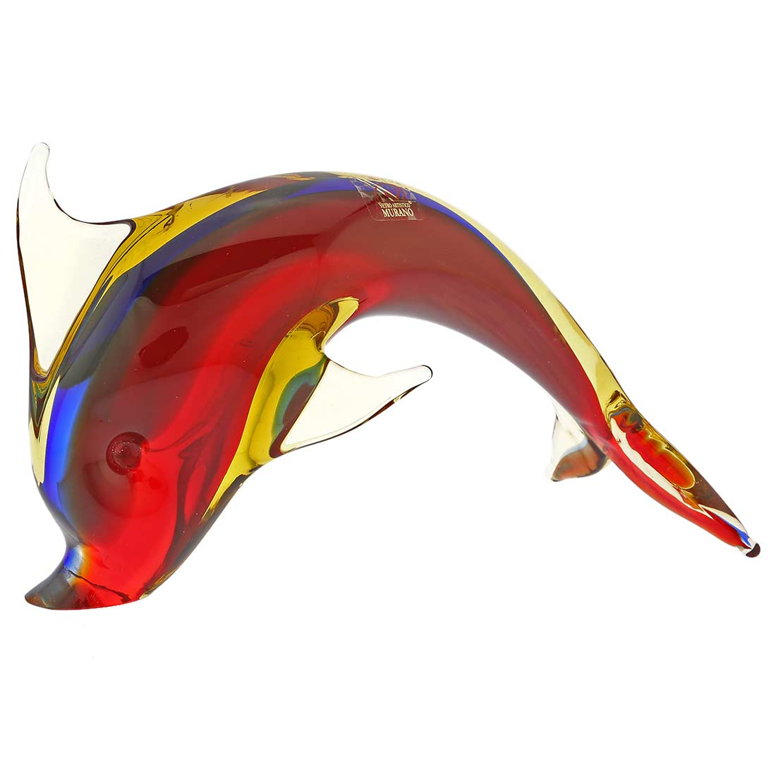 Murano Glass Dolphin - Red Blue Amber