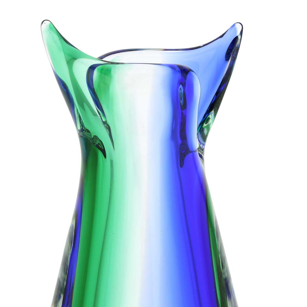 Murano Glass Sommerso Bud Vase - Green Blue