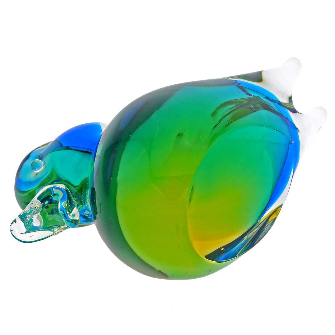 Murano Glass Duck - Amber Aqua