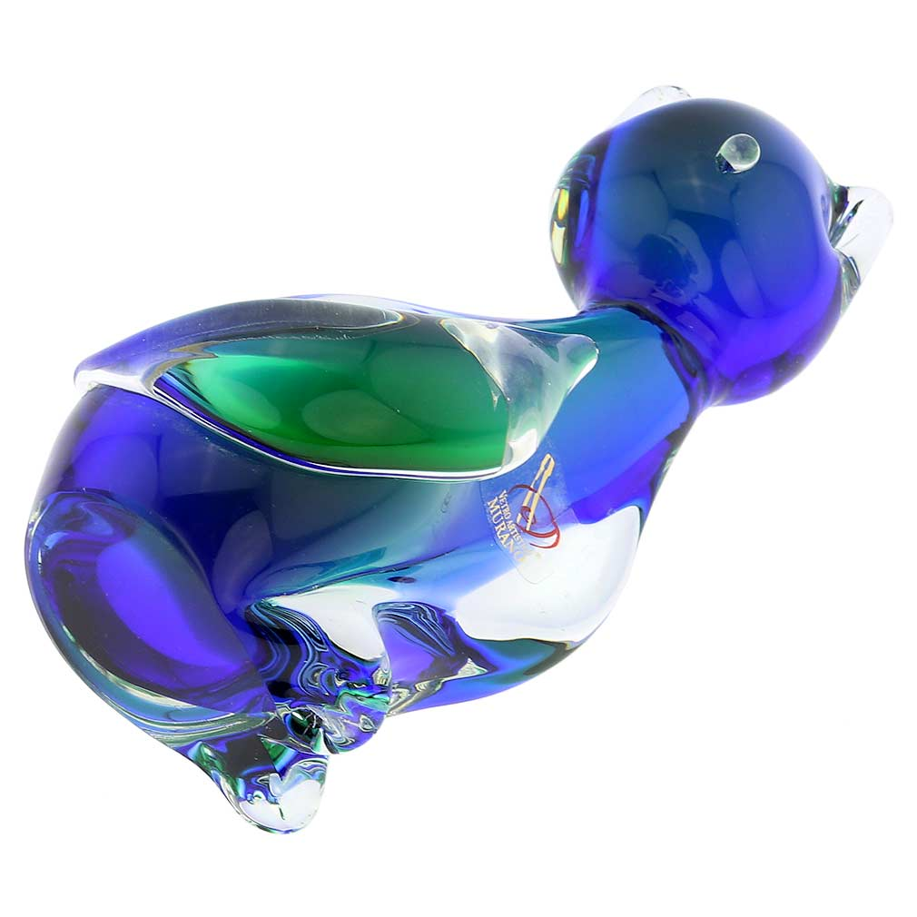 Murano Glass Cat - Blue and Green