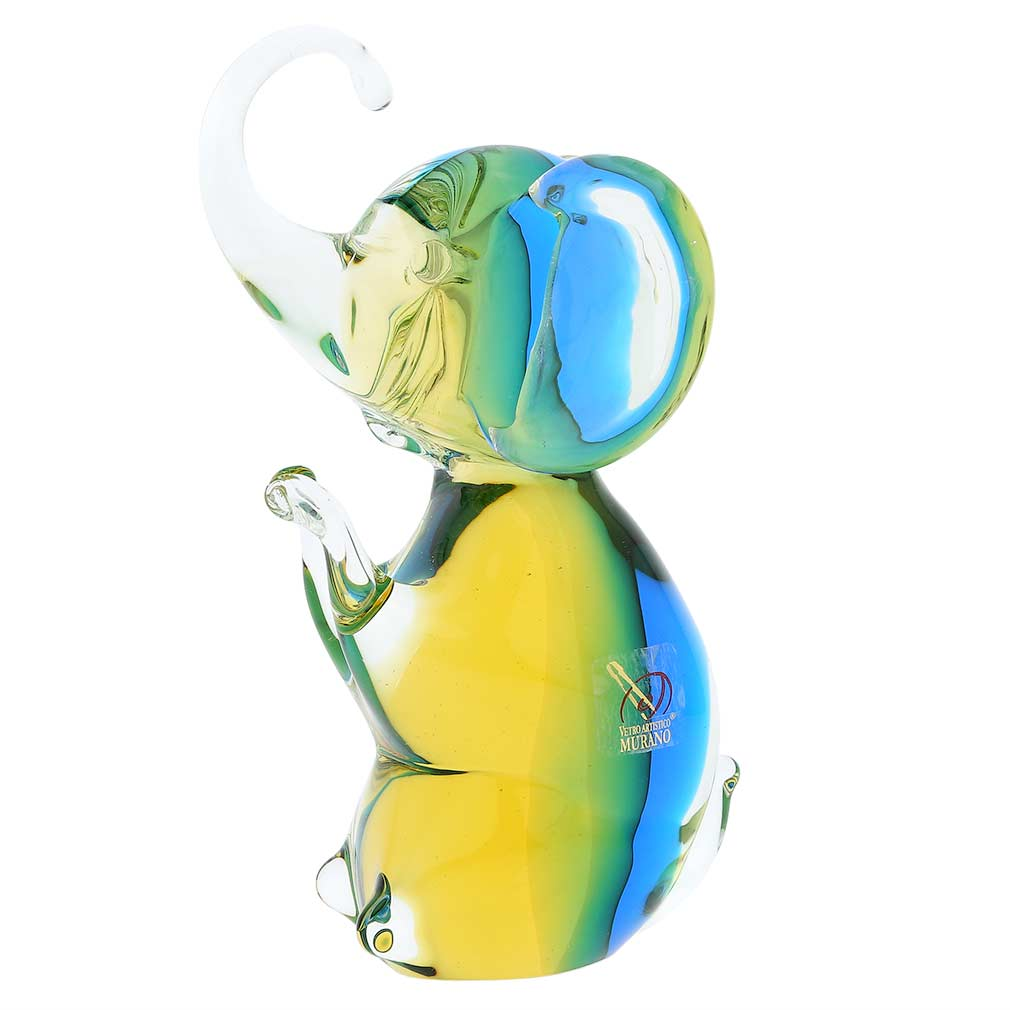 Murano Glass Elephant - Amber Aqua