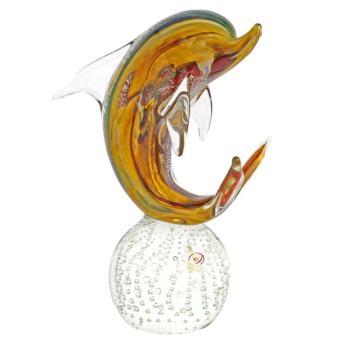 Murano Glass Dolphin on Base - Chalcedony