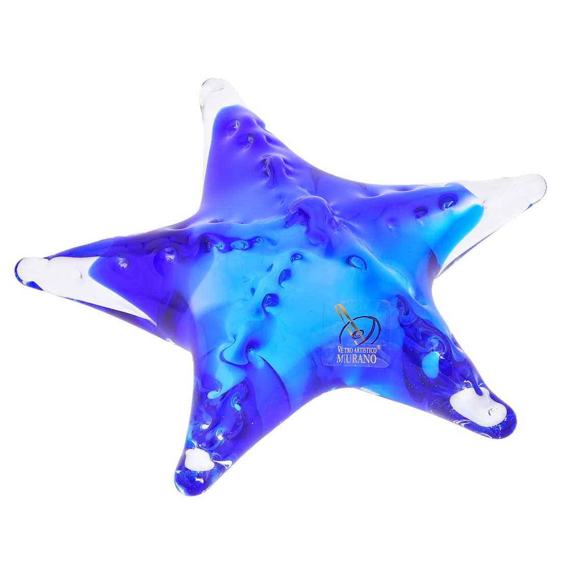 Murano Glass Starfish - Aqua Blue