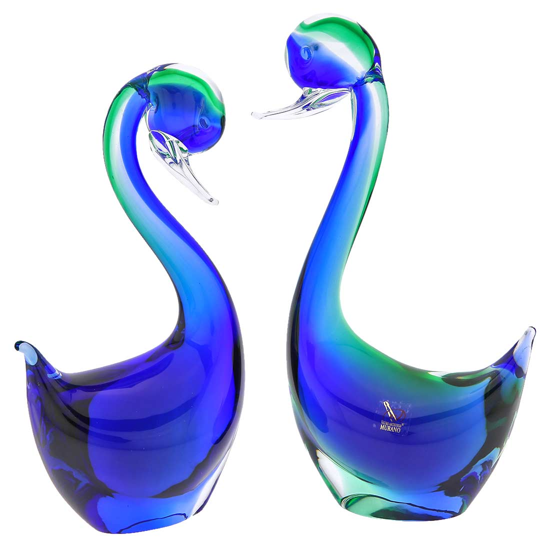 Pair of Blue and Green Murano Glass Swans