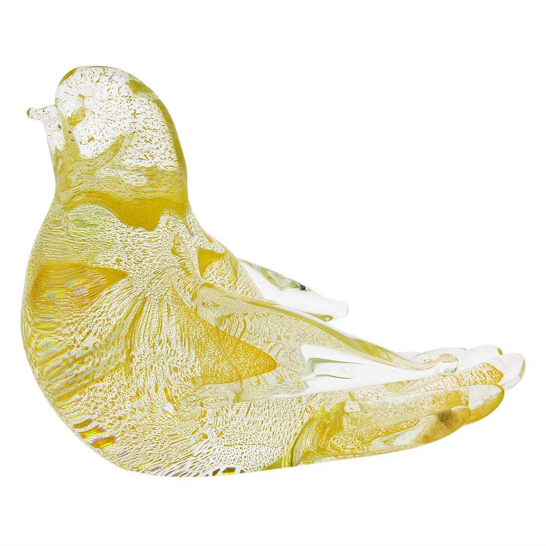 Murano Glass Dove - Sparkling Gold