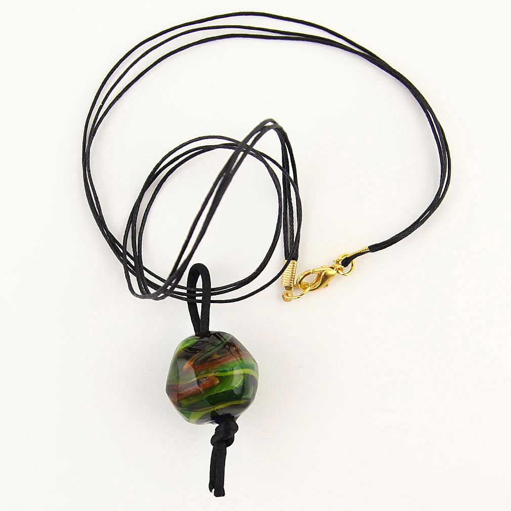 Precious Stone Murano glass pendant- Northern Lights