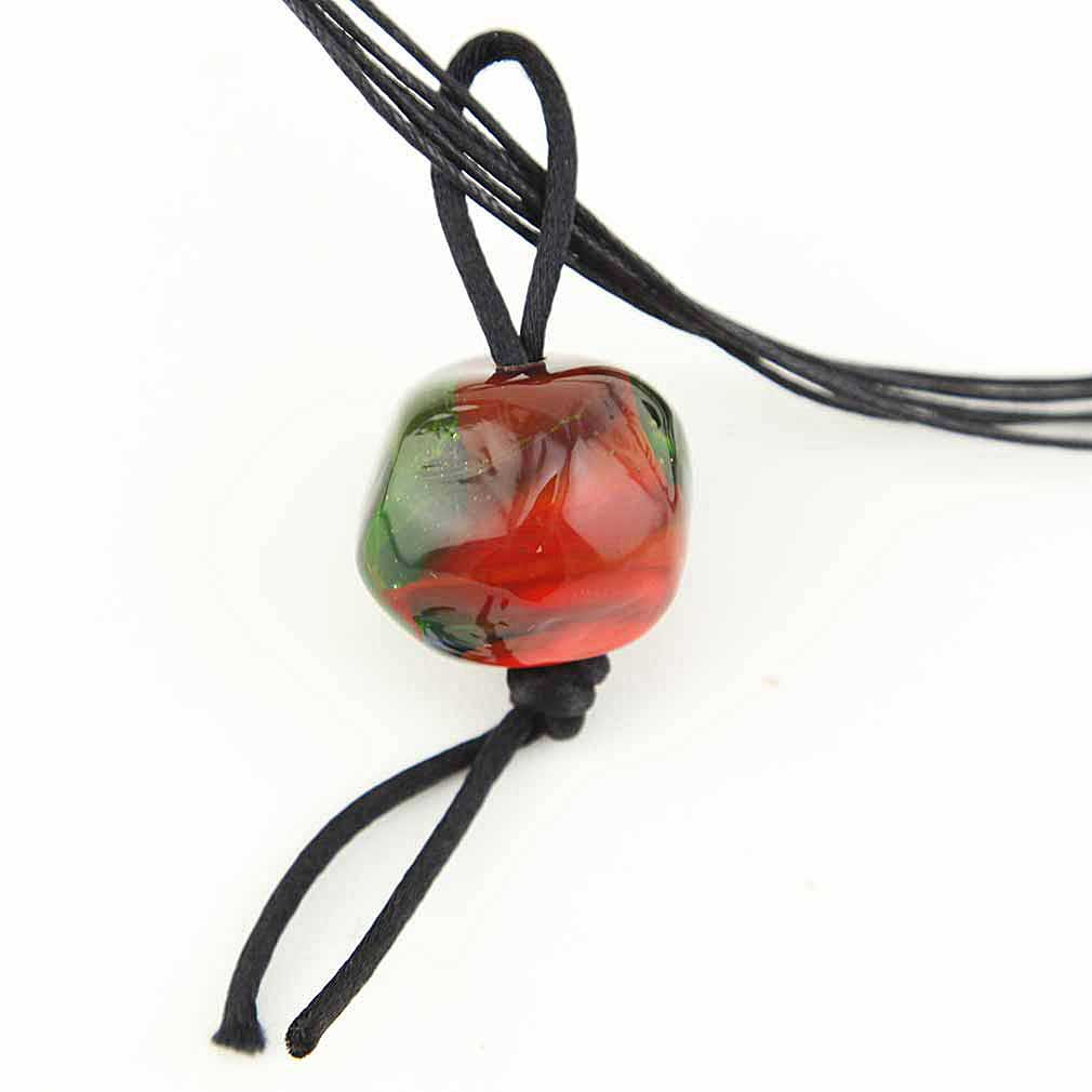 Precious Stone Murano glass pendant- Red and Ocean Green