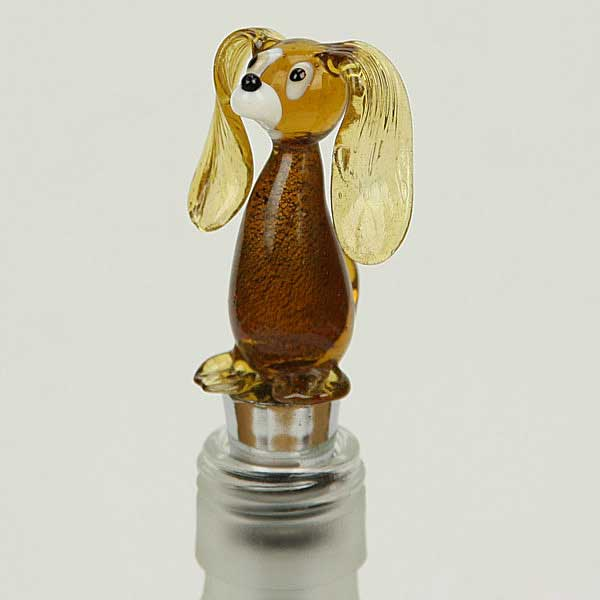 Murano Glass Dog bottle stopper - amber gold