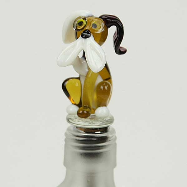 Mad Murano Glass Dog bottle stopper - amber