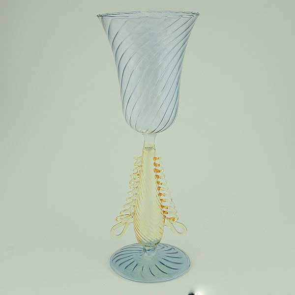 Murano glass goblet - blue and tender gold