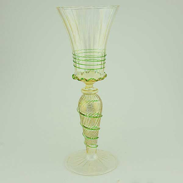 Murano glass goblet - gold and green