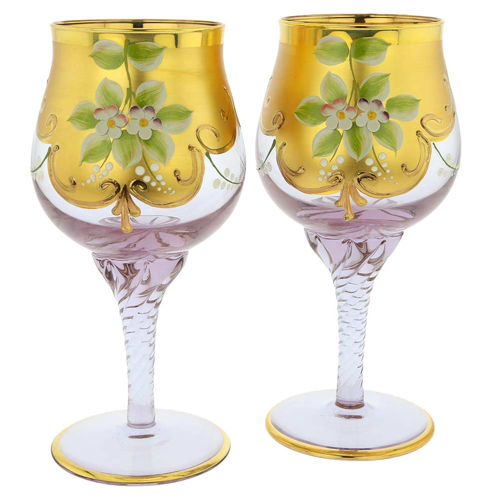 Set of Two Murano Glass Wine Glasses 24K Gold Leaf - Lavender