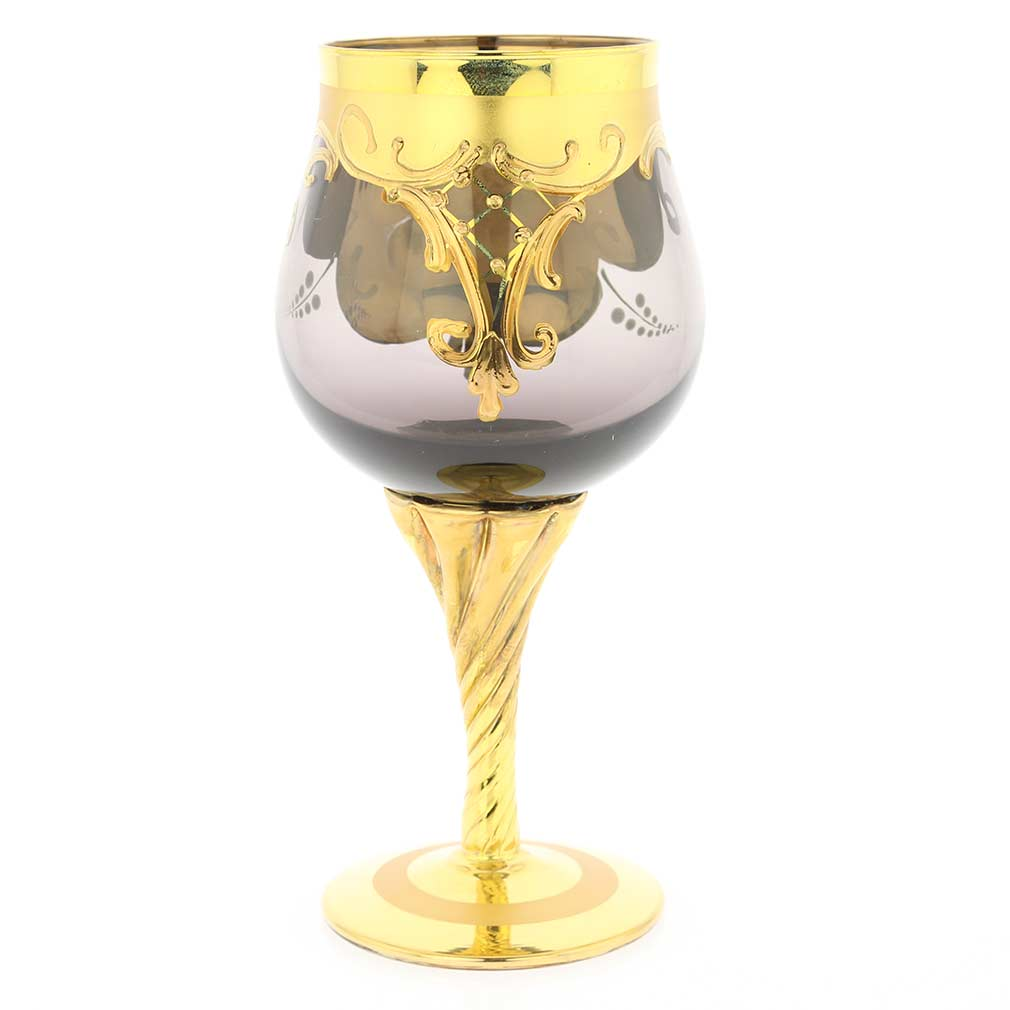 Set of Two Murano Glass Wine Glasses 24K Gold Leaf - Amethyst