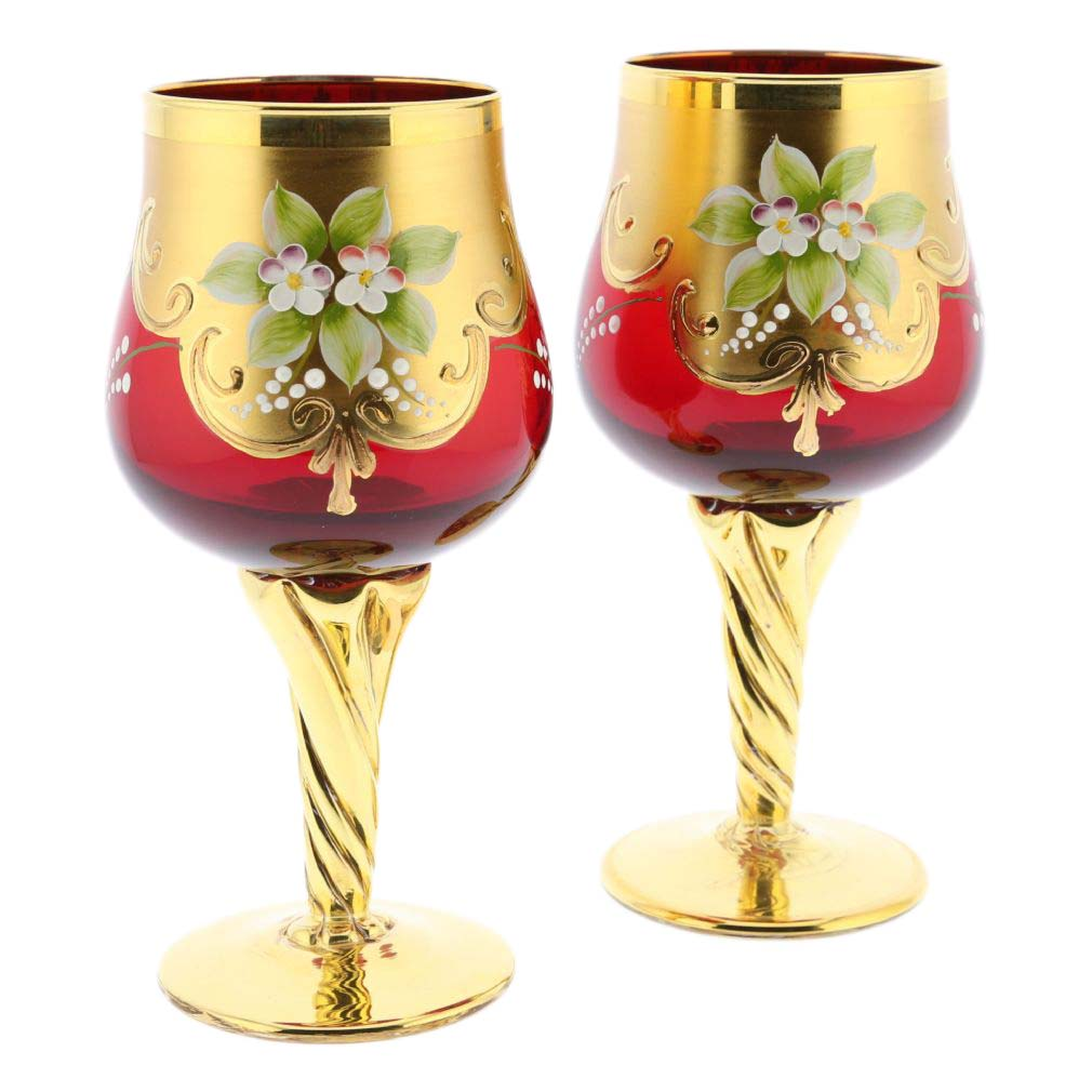 murano glass goblets set of two murano glass wine. Black Bedroom Furniture Sets. Home Design Ideas