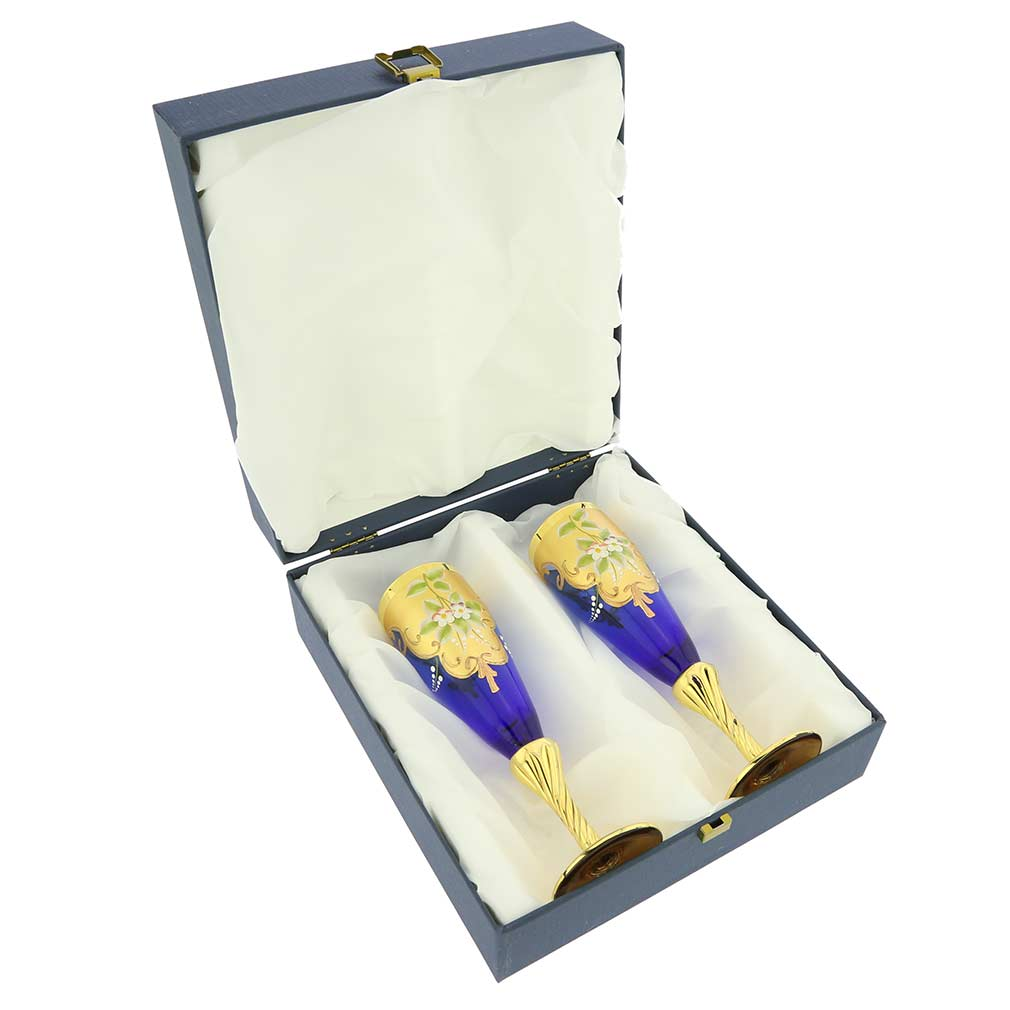 Set of Two Murano Glass Champagne Flutes 24K Gold Leaf - Blue