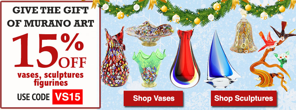 15% OFF Murano Glass vases Sculptures and Figurines