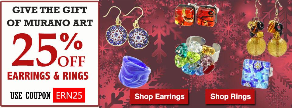 Murano Glass Earrings and Rings Sale