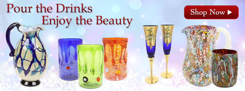 Murano Glass tumblers, goblets, drinking glasses, pitchers, and carafes