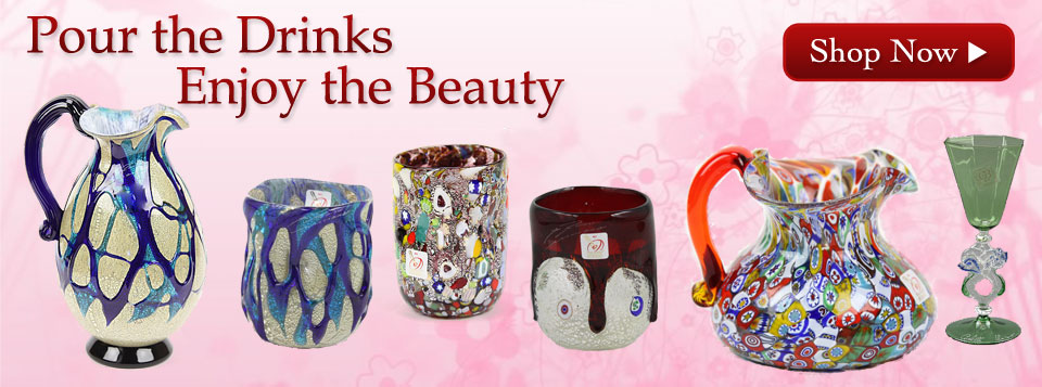 murano glass goblets tumblers and carafes