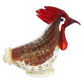 Murano Glass Bullicante Rooster - Red