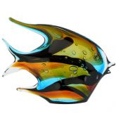 Murano Art Glass Wide Angel Fish - Sommerso