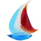 Art Glass Large Sailboat - Silver Blue and Red
