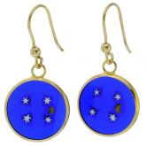 "Millefiori Round Dangle Earrings ""Moon and Stars""- Gold"