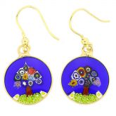 "Millefiori Round Dangle Earrings ""Tree Of Life"" - Gold"
