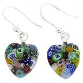 Millefiori Heart Earrings - Silver Multicolor