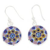 Millefiori Drop Earrings - Silver