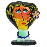 Murano Glass Picasso Head Of A Woman With Flower