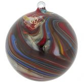Murano Glass Chalcedony Christmas Ornament - Dark Red Swirl