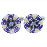 Venetian Glass Millefiori Cufflinks - Blue