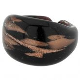 Murano Ring In Domed Design - Silver Blue