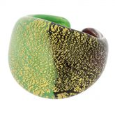 Murano Ring In Domed Design - Green and Black