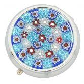 Murano Millefiori Pill Box - Silver Round