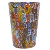 Murano Glass Tumbler - Golden Quilt Millefiori