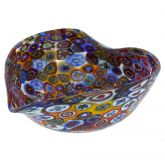 Murano Millefiori Decorative Heart Bowl - Multicolor