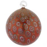 Murano Glass Christmas Ornament - Red Millefiori