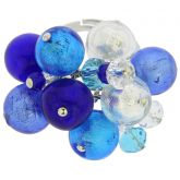 Sorgente Murano Glass Ring - Blue