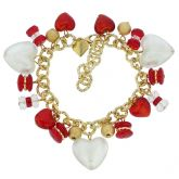 Donatella Murano Glass Hearts Charm Bracelet - Red
