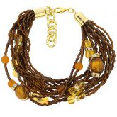 Alessia Murano Glass Bracelet - Golden Brown