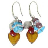 Donatella Murano Glass Heart Charm Earrings - Multicolor
