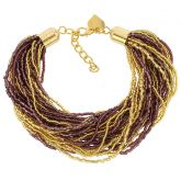 Gloriosa 36 Strand Seed Bead Murano Bracelet - Gold and Amethyst