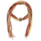 Unica Murano Glass Scarf Wrap Necklace - Red and Gold