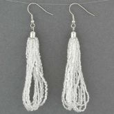 Gloriosa Seed Bead Murano Earrings - Silver White