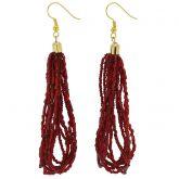 Gloriosa Seed Bead Murano Earrings - Red