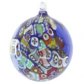 Primavera Millefiori Murano Glass Christmas Ornament - Blue